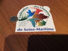 AUTOCOLLANT, Sticker * «Fédération Des Chasseurs De Seine-Maritime 76» (chasse, Cerf, Sanglier, Oiseau) - Autocollants