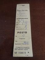 BIGLIETTO TRENO POSTO RISERVATO FIRENZE - ROMA-1967 - Europa