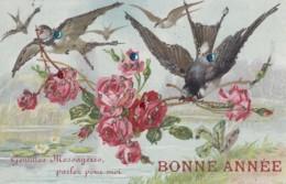 Oiseaux - Fantaisies - Illustration - Roses Moineaux - Paillettes Sequins - 1911 - Birds