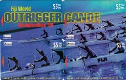 FIJI - Canoe Championship 98' Puzzle 4 Cards, 01/98, Tirage 1.000, Mint - Fiji