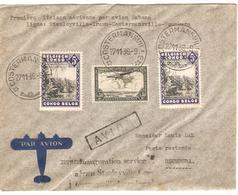 PR6292/ TP 197(2)-TPA 7 S/L.Avion 1ère Liaison Sabena C.Costdermansville 1939 V.Usumbura Poste Restante - Congo Belge