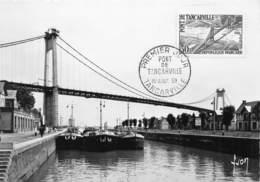 """Pont De Tancarville 1er Aout 1959 - Philatélie Premier Jour - Péniches Nommées """"Bretagne"""", """"RPN 7"""", """"Vinotra 4"""" - Tancarville"""
