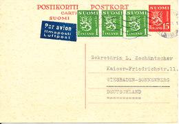 Finland Uprated Postal Stationery Postcard Sent To Germany 14-7-1951 - Finlande
