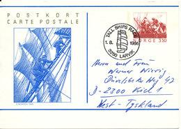 Norway Postal Stationery Postcard Sent To Germany Tall Ships Race Larvik 1-8-1986 - Postal Stationery