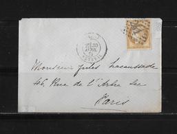 1871-1875 Ceres → Lettre Paris Auteuil 1875 Et Losange 241 - 1871-1875 Ceres