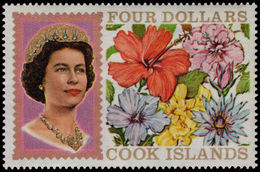 Cook Islands 1967-71 $4 Without Fluorescent Markings Unmounted Mint. - Cook