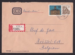 Germany: Registered Cover, 1966, 2 Stamps, Buildings, R-label, Sent By DB Deutsche Bahn Railways (minor Damage) - Brieven En Documenten
