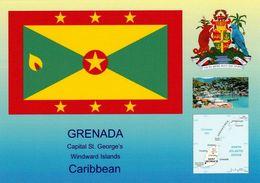 1 AK Grenada * Flagge, Landkarte, Wappen Und Eine Ansicht Der Hauptstadt St. George's * - Grenada
