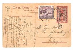 PR6295/ Entier CP Est Africain Allemand Occupation Belge 15c Surchargé + TP 66 C.Usumbura 1927 V.Liège - Entiers Postaux