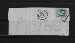 1863-1870 Napoléon III. Laure → Lettre 1870 à Arras Et Losange - 1863-1870 Napoléon III Lauré