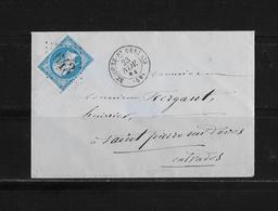 1863-1870 Napoléon III. Laure → Lettre 1864 à Calvados Et Losange 643 - 1863-1870 Napoléon III Lauré