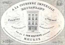 """BRUGES-BRUGGE """" ESTAMINET LOGEMENT RESTAURANT A LA COURONNE IMPERIALE-J.VAN HOUTRIVE-POISSONNIER-VISHANDELAAR"""" DAVELUY - Cartes Porcelaine"""