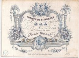 """GAND-GENT """"UITNODIGING VOOR HET BAL VAN ST.HERMES-INVITATION POUR LE BAL DE ST.HERMES""""LITH.GYSELYNCK-142/106MM - Cartes Porcelaine"""