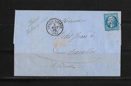 1863-1870 Napoléon III. Laure → Lettre Chalon-sur-Saône 1865 à Charolles Et Losange 842 - 1863-1870 Napoléon III Lauré