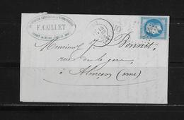 1863-1870 Napoléon III. Laure → OR-Lettre F.Gaillet 1869 à Alençon Et Losange - 1863-1870 Napoléon III Lauré