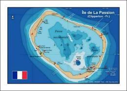 Clipperton Island Map Ile De La Passion New Postcard - Frankreich