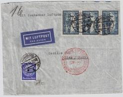DR, Nr. 365, 3er Streifen, Luftpost Nach Peru   , #a1940 - Deutschland