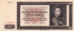 "BOHEMIA And MORAVIA 500 KORUN (KRONEN) 1942 SPECIMEN UNC SERIES A  P-11s ""free Shipping Via Registered Air Mail"" - Billets"