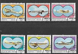 MOZAMBICO  1981 POSTA AEREA STORIA DELL'AVIAZIONE YVERT. 40-45 USATA VF - Mozambico