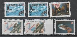 Croatia 1991_1992, MNH, Michel 179A, C, 180 A,C, 181, 189, Aditional Stamps For Air Mail, Dubrovnik, Split, Pula, Osijek - Kroatien