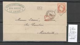 France - Yvert 23 Sur Lettre D'Alexandrie - GC 5080 - 1866 - 1849-1876: Période Classique