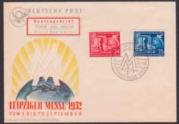 Leipzig Frühjahrsmesse 1952 SoSt. Hauptbahnhof FDC DDR 315/16, MM Mit Erdkugel Und Friedenstaube - DDR