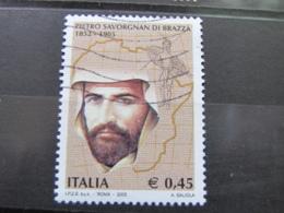 *ITALIA* USATI 2005 - CENT PIETRO SAVORGNAN DI BRAZZA - SASSONE 2838 - LUSSO/FIOR DI STAMPA - 6. 1946-.. Repubblica
