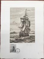 TAAF, Gravure Frégate '' La Novara à St Louis '', 1985, Autographe D'AP. J. Noel TB ( 437 / 1500 ) - Tierras Australes Y Antárticas Francesas (TAAF)