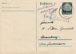 EP Michel Elsass P 2 Obl  WEISSENBURG (ELS) Du 9.11.40 Adressée à Strassburg - Unbekannt Verzogen Et Zurück - Elsass-Lothringen