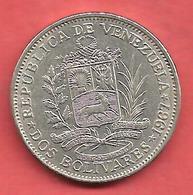 2 Bolivars, VENEZUELA , Nickel , 1967 , N° KM # 43 - Venezuela