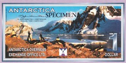 "ANTARCTICA 1 Dollar 1999 SPECIMEN UNC Prefix Z Private Issue ""free Shipping Via Registered Air Mail"" - Specimen"