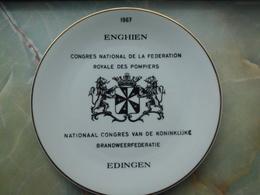 ENGHIEN : Assiette Des Sapeurs Pompiers 1967. - Autres Collections