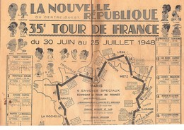 Cyclisme Carte Du 35 ème Tour De France Du 30 Juin Au 25 Juillet 1948 Avec Caricatures Des Coureurs - Cartes