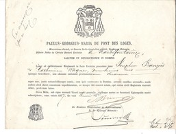 Faire Part - Mariage - Paroisse De Narbéfontaine - Moselle - Publication De Bans Donnée Par L'évèché De Metz En 1877 - Mariage