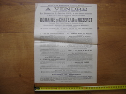 Ancienne Affiche 1905 Vente Mobiliere CHATEAU Du NUZERET A St Vincent En Bresse - Affiches