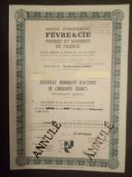 1 Ets FEVRE & CIE Pierresb Et Marbres De France Action (Annulé) 1975 - Azioni & Titoli