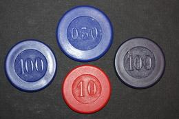 """Lot De 4 Jetons De Cercle De Jeux Ou Casino à Déterminer """"0,50fr - 10fr - 100fr Bleu Clair Et 100fr Bleu Marine"""" - Casino"""