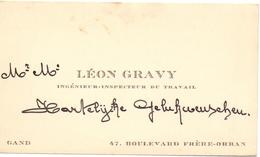 Visitekaartje - Carte Visite - Ingenieur Leon Gravy - Gand Gent - Cartes De Visite