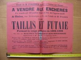 Ancienne Affiche 1905 Vente BOIS TAILLIS Et FUTAIE A St Vincent En Bresse - Afiches