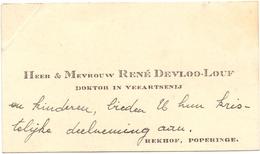 Visitekaartje - Carte Visite - Dokter Veearts Rene Devloo - Louf - Poperinge - Cartes De Visite