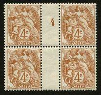 FRANCE - YT 110 ** - BLANC 4c - BLOC DE 4 TIMBRES NEUFS ** AVEC MILLESIME 4 (1924) - Millesimes