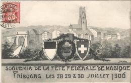 SUISSE  /  FRIBOURG  - Souvenir  De  La  Fête  Fédérale  De  Musique  Juillet 1906  /  Carte Envoyée à Gentilly ( 94 ) - FR Fribourg
