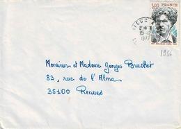 TP N° 1956 Seul Sur  Enveloppe  Avec Cachet De St Brieuc à Paris - 1961-....