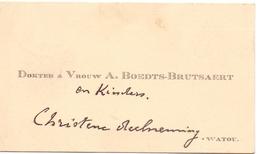Visitekaartje - Carte Visite - Dokter & Vrouw A. Boedts - Brutsaert - Watou - Cartes De Visite
