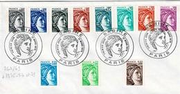 TP N° 1962/69 Et 1975,77 Et 79 Sur  Enveloppe  Avec Cachet 1er Jour De Paris - 1961-....