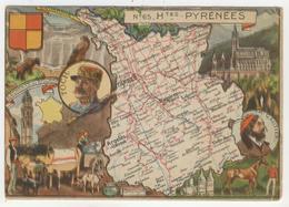 J.P. Pinchon      Carte Géographique Du 65 - Hautes-Pyrénées - Andere Illustrators