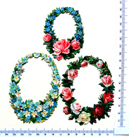 3 CHROMOS  DECOUPI  GAUFRES.......  MÉDAILLONS...FLEURS ....ROSES..... MYOSOTIS - Fleurs