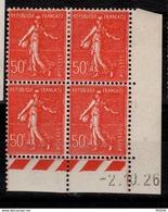 Semeuse 50 C. Lignée Rouge 199 En Bloc De 4 Coin Daté - 1903-60 Semeuse Lignée
