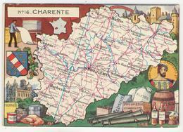 J.P. Pinchon      Carte Géographique Du 16 - Charente - Andere Illustrators