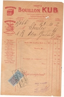 Facture Bouillon Kub Rue Euryale Paris 75 1922 - Alimentare